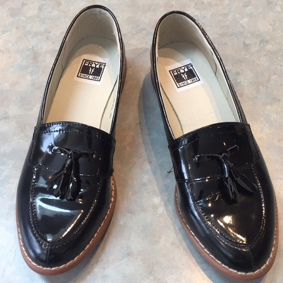 Frye black patent loafers
